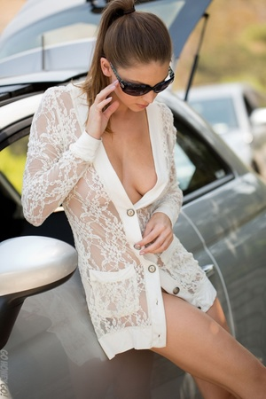 Alluring babe in sunglasses bends over her car for a naked pictorial. - XXXonXXX - Pic 4