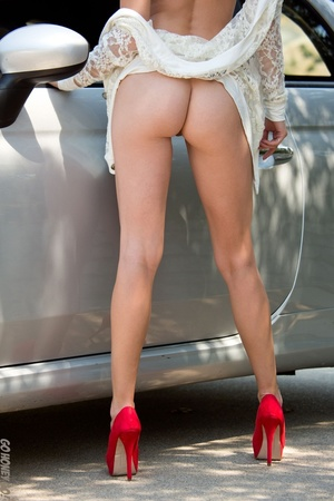 Alluring babe in sunglasses bends over her car for a naked pictorial. - XXXonXXX - Pic 8