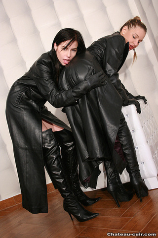 pair young babes leather