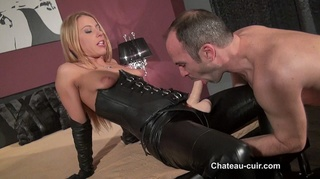 small tits blonde leather