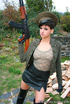 Big tits lass in military uniform and latex skirt pulls aside tight panty