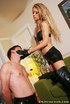 Long haired blonde sheds leather pants before wearing high boots and leather
