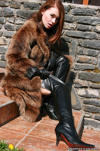 young redhead leather boots
