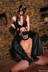 Yummy booty brunette in leather mask and crotchless pants riding guys