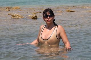 one-piece swimsuit brunette shades