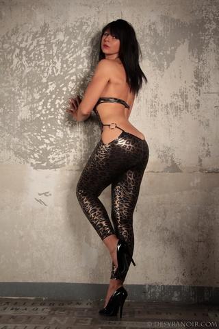 leopard-y latex bodysuit brunette