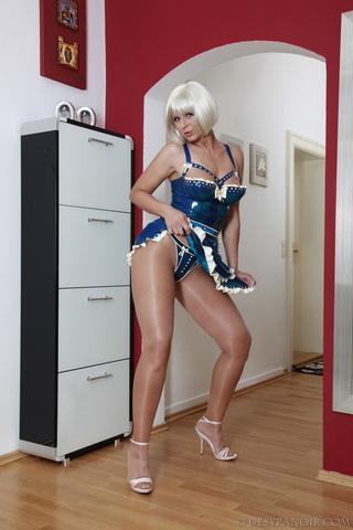 pantyhose wearing maid blonde