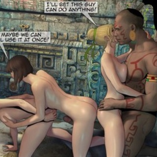 Intense orgy with a big-dicked Mayan - BDSM Art Collection - Pic 1