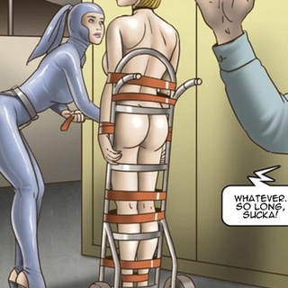 Short-haired busty blonde wheeled out - BDSM Art Collection - Pic 2