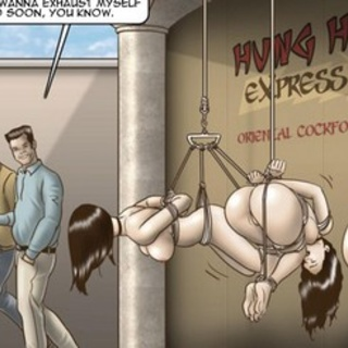 Suspended latex sex slaves violently - BDSM Art Collection - Pic 1