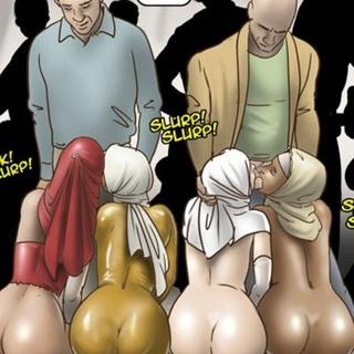 Nun-like latex-clad slaves sucking - BDSM Art Collection - Pic 4