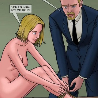 Blonde with a butt-plug running away - BDSM Art Collection - Pic 1