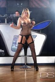 see-through fishnet bodysuit blonde