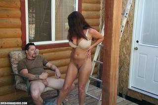dress-wearing brunette massive tits