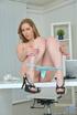 Black high heels brunette fingering her pussy at the office