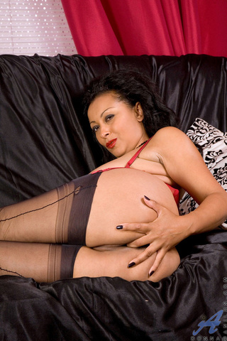 red corset black-ish stockings