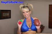 playful tanned blonde cougar