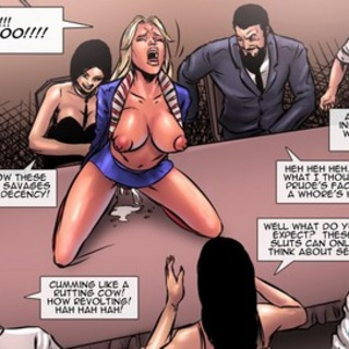 Buxom blonde dripping out on a table - BDSM Art Collection - Pic 4