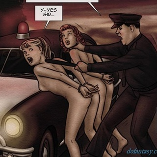 Cop pulls over retro hotties and - BDSM Art Collection - Pic 1