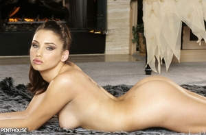 Stunning babe peels off her brown dress and bares her foxy body with luscious tits and indulging pussy in different poses on a gray and white carpet wearing her brown high heels. - XXXonXXX - Pic 17