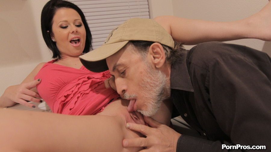 Dirty old man licks pussy
