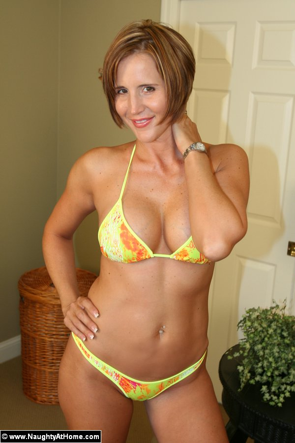 Tiny busty milf takes it serious