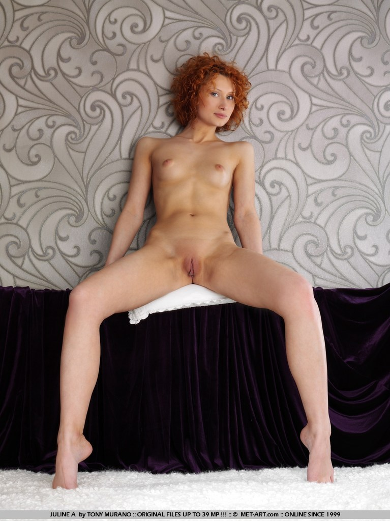 With red nude hair curly girl