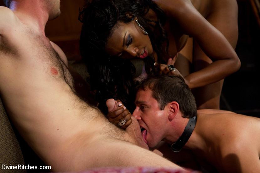 Ebony mistress with yummy boobs humiliating her white bf rough while  fucking with other guy.