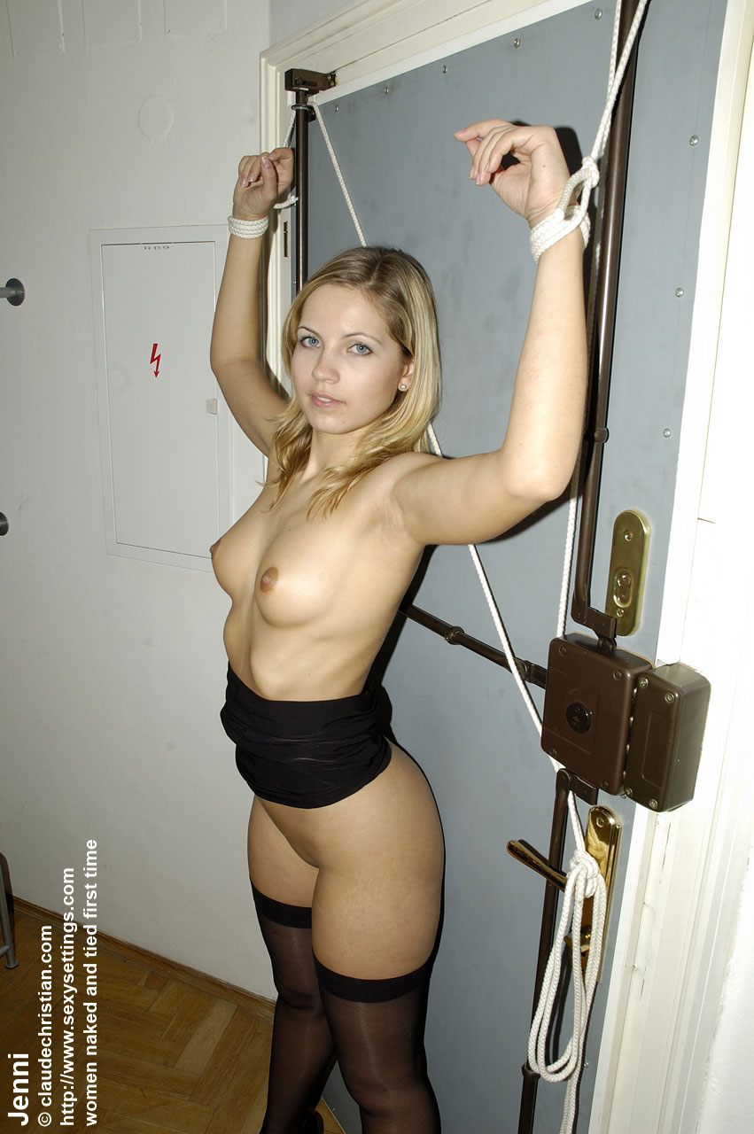 on chair up Girl naked tied