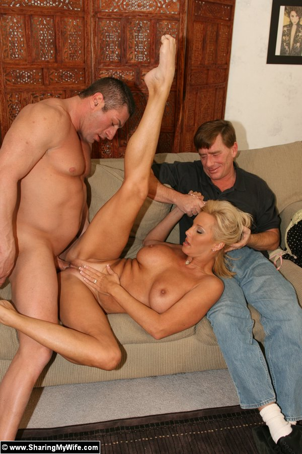 Sexy blonde joins two sexy men as they fuck each other 2