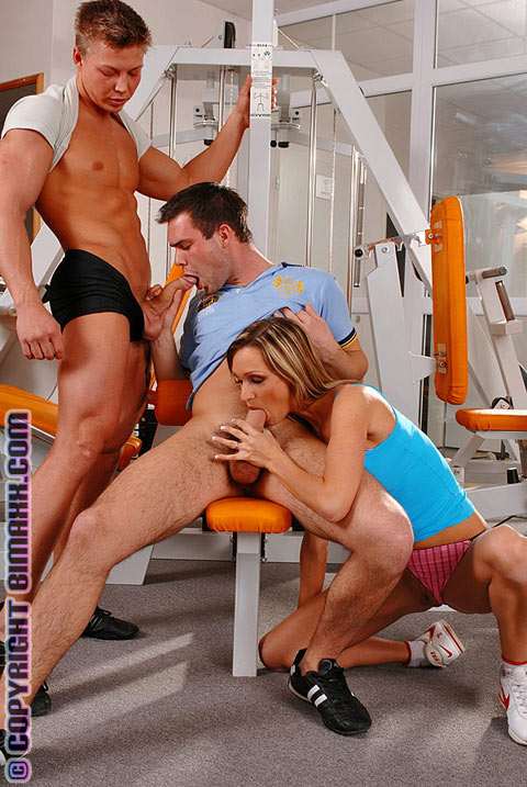 Three some pounding in gym