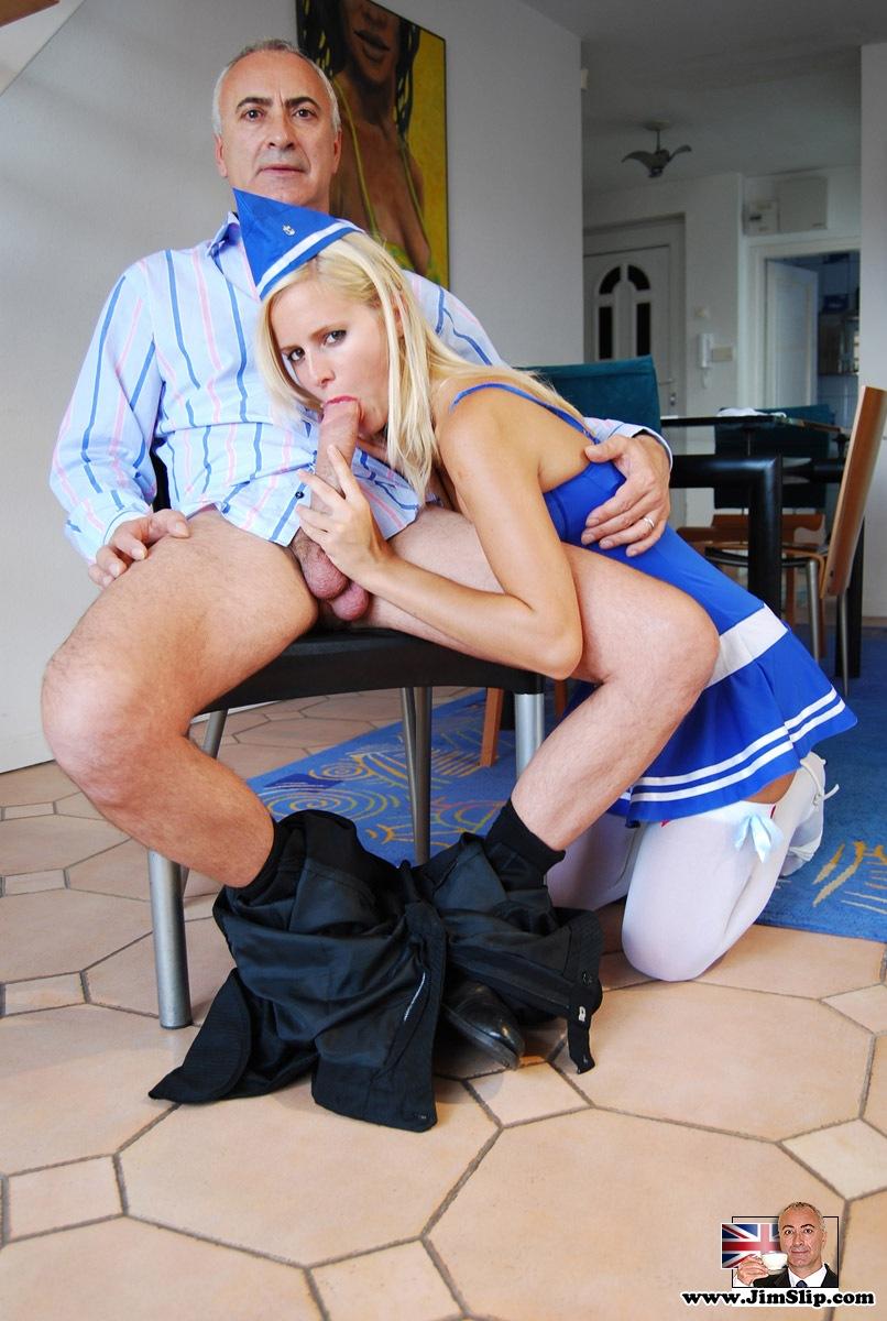 Blonde Blue-Dressed Air Hostess Inviting Th - Xxx Dessert -9932