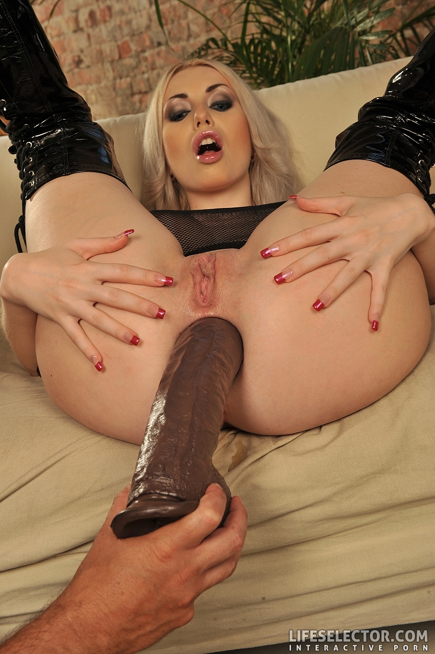 Kelsie Takes A Monster Black Dildo