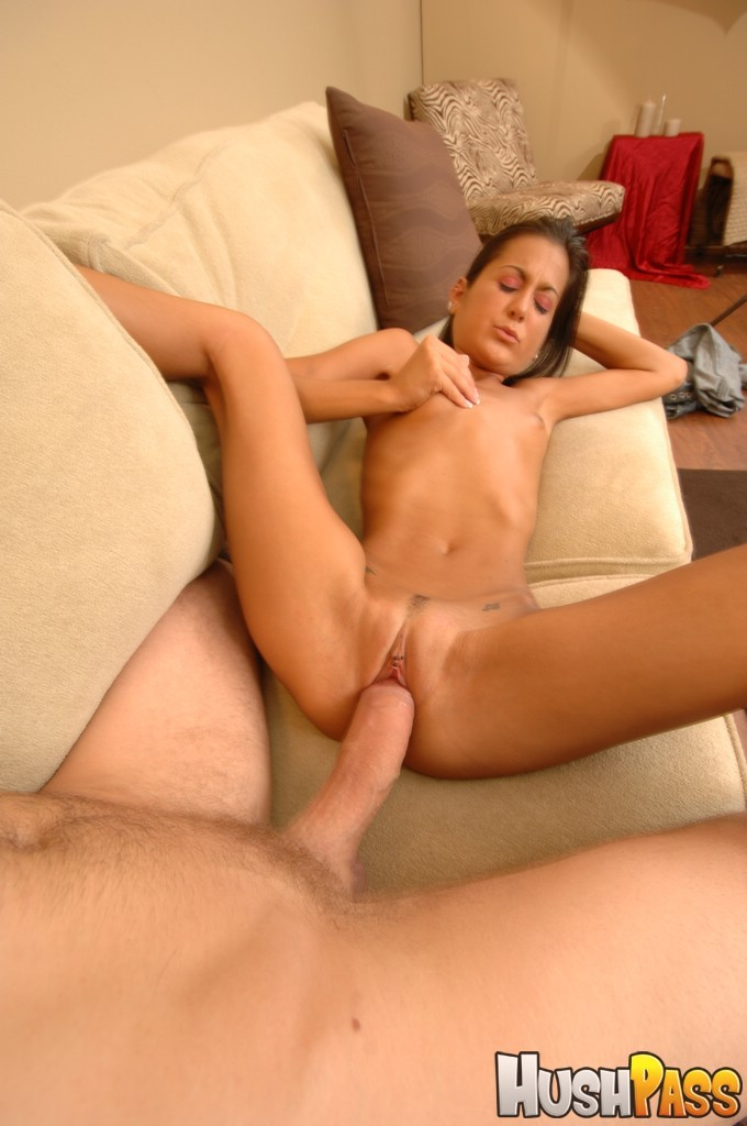 Small titted brunette takes huge cock into dessert picture