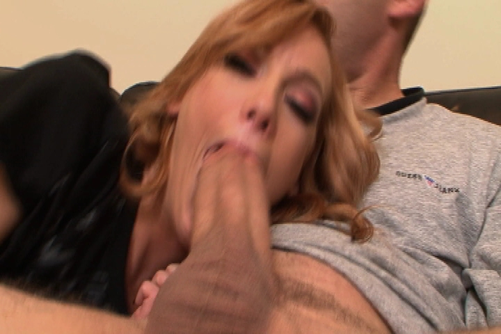 Blonde is giving blowjob deep throat long cock