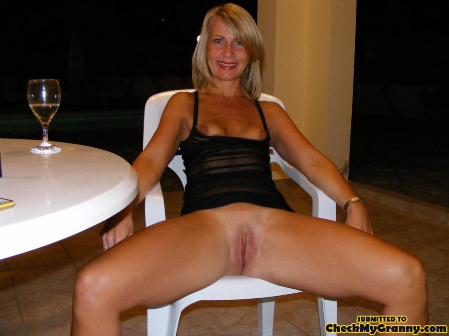 Blonde lingerie mature amateur