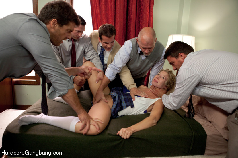 Goes! gangbang office sex