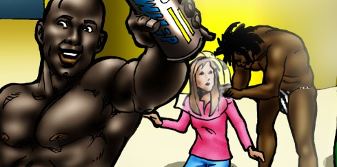 Blonde slut loves fucking with black dudes in - Cartoon Sex - Picture 4