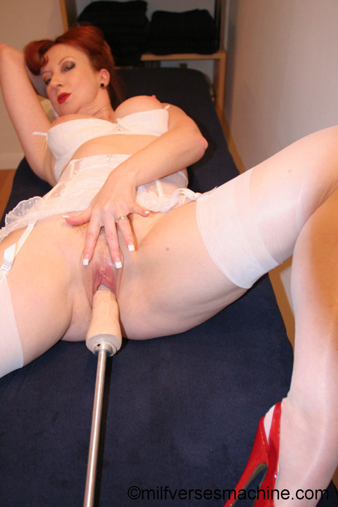 Red bitch in red shoes and white lingerie e - XXX Dessert - Picture 4
