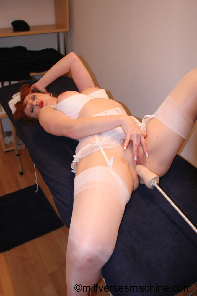 Red bitch in red shoes and white lingerie e - XXX Dessert - Picture 9