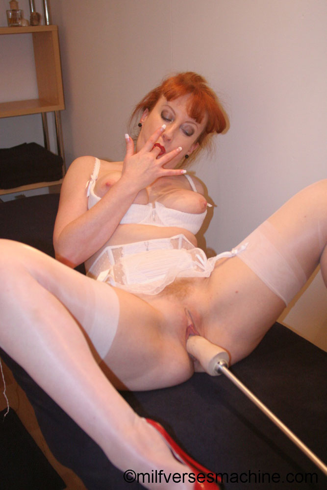Red bitch in red shoes and white lingerie e - XXX Dessert - Picture 14