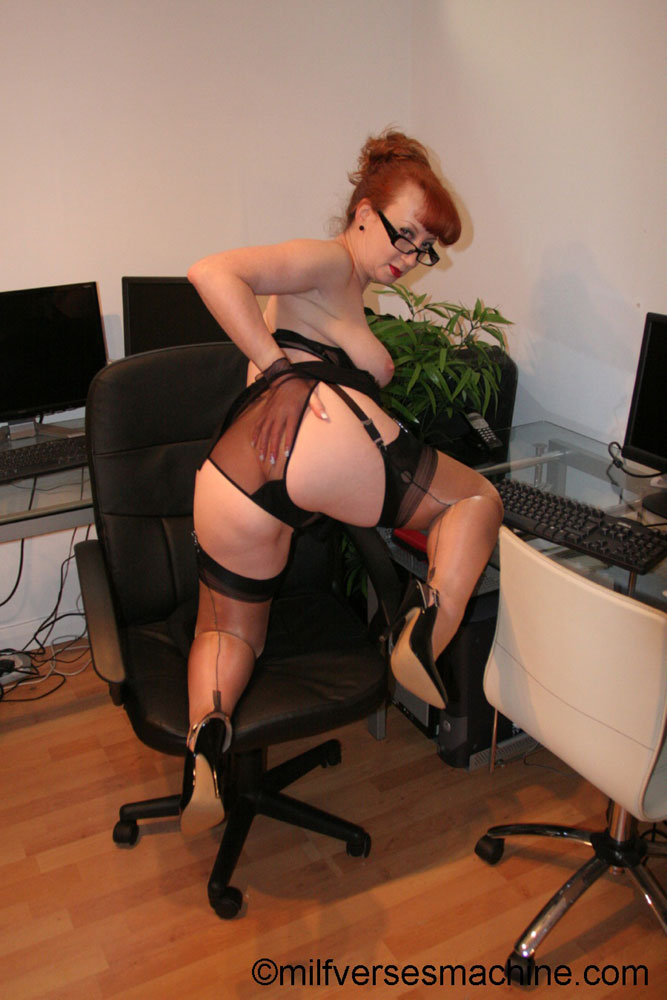 Red secretary in glasses and sexy lingerie  - XXX Dessert - Picture 16