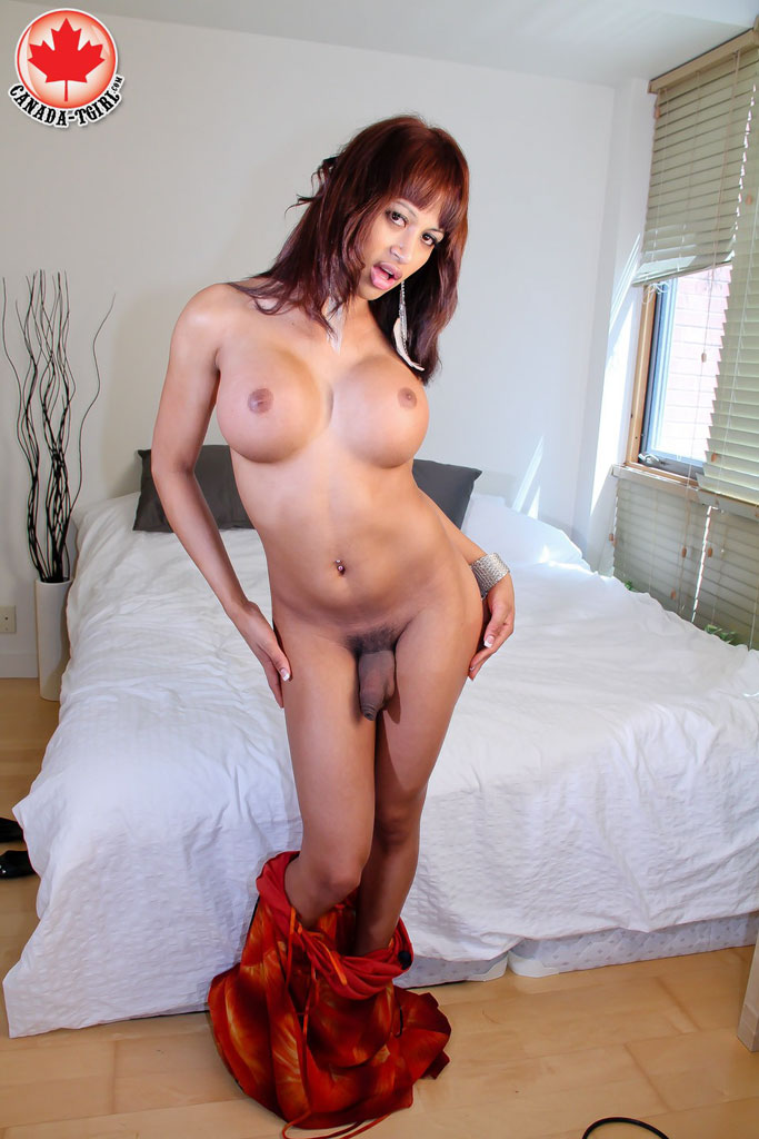 Enter canada tgirl swarthy red shemale with big boobs in a red dessert picture