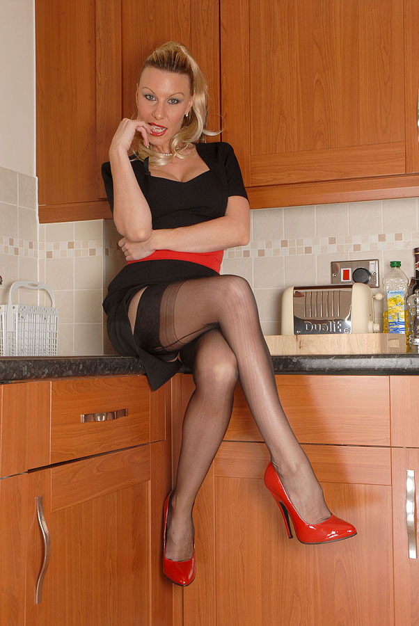 Red high heels and stockings porn images