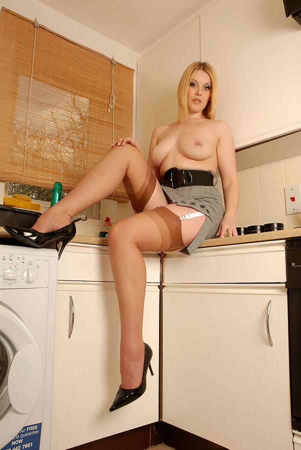 Sandy secrets in nylons in kitchen