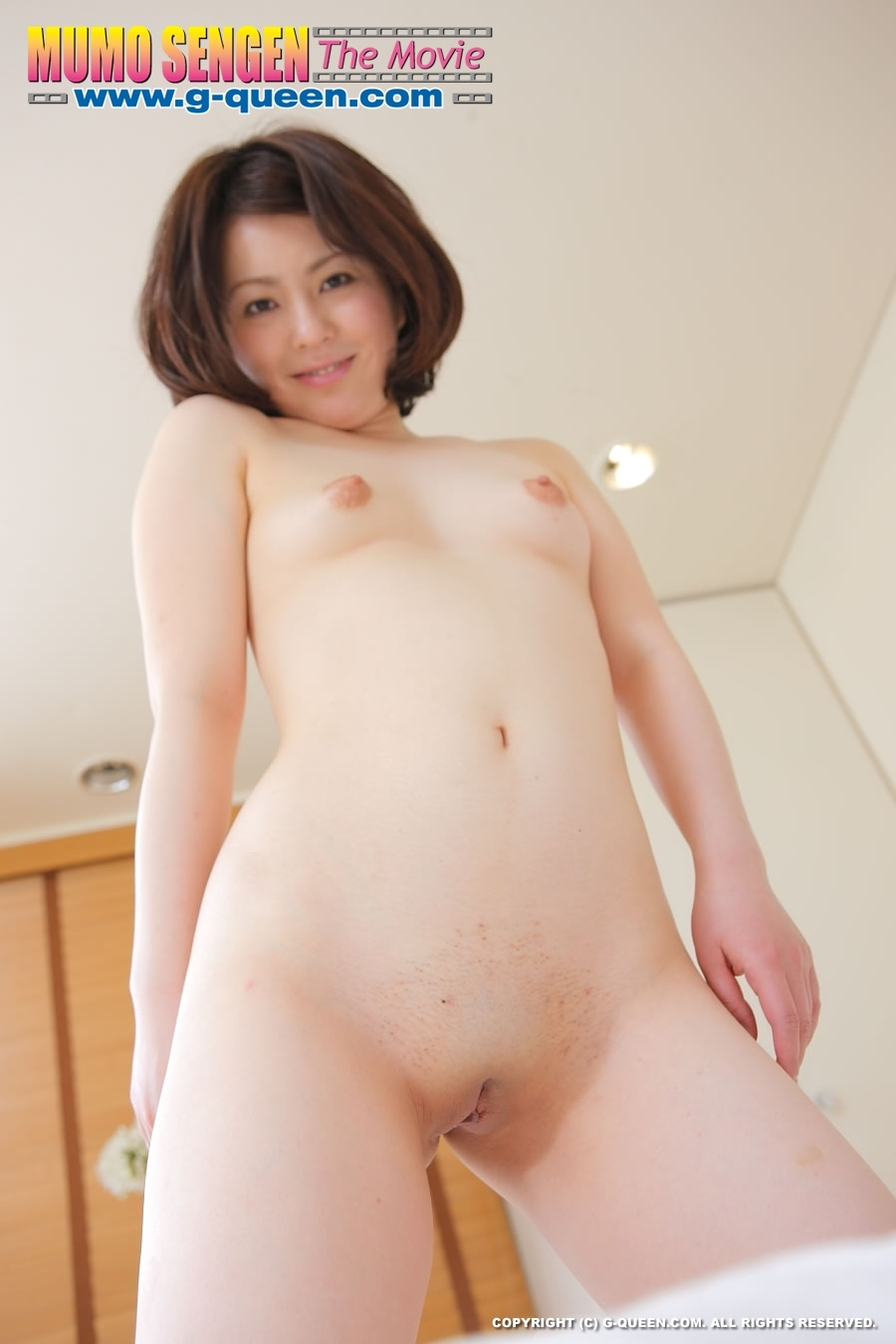 Curly Japanese Teen Posing In Red Transparent Baby-Doll -6454