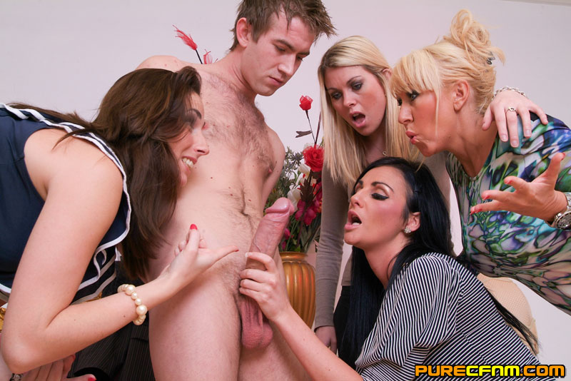 cfnm cumshots xxx - A young lad having four gorgeous ladies to - XXX Dessert - Picture 8