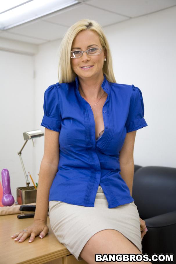 Sexy banker girl in shiny tan pantyhose 6