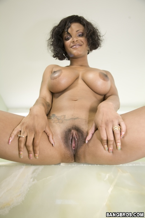 Awesome big tit ebony fucked hard by two white cocks 9