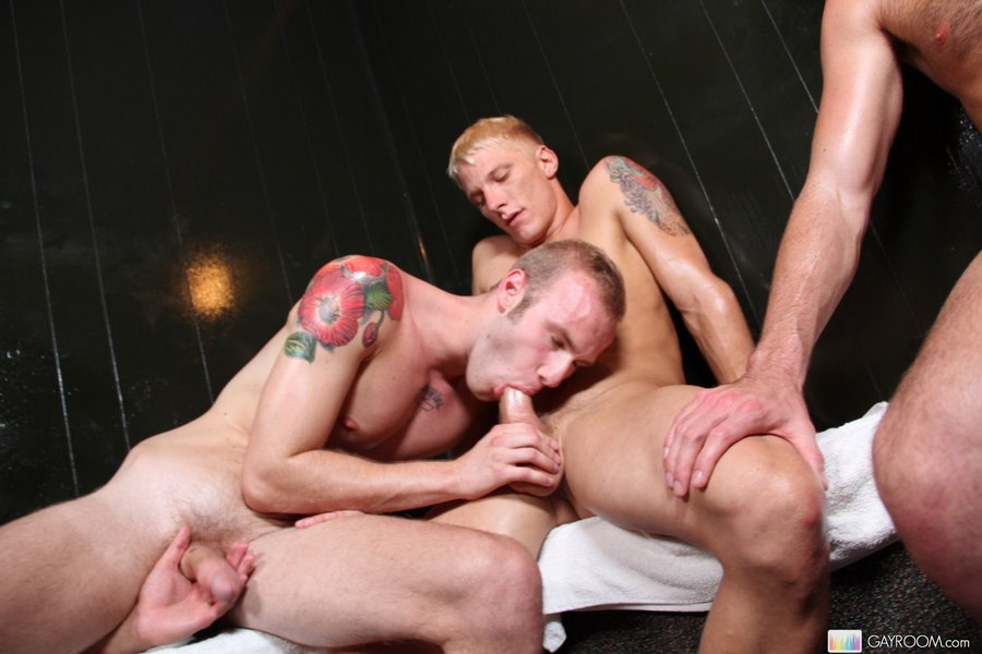 Bath house gays sweaty cock sucking